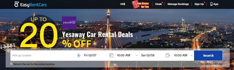 EasyRentCars Sale 20% OFF Yesaway Hot Spots