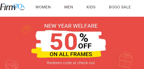 Firmoo Coupons 50% Off on Frames for All Customers