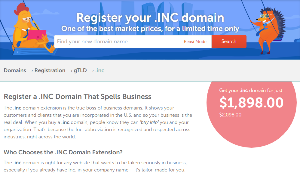Namecheap .INC. domain discount