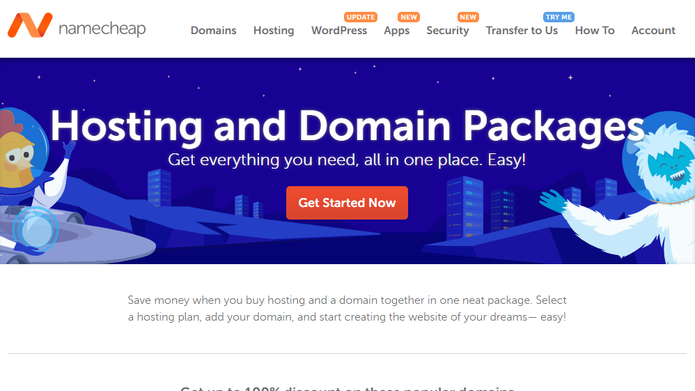 Namecheap .Com domains and hosting bundle discount