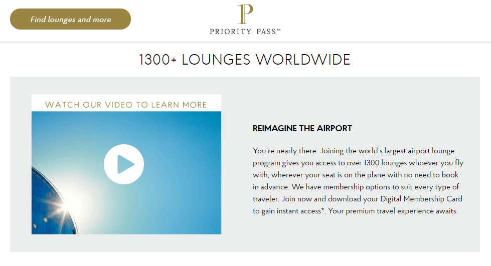 Priority Pass 1300+ vip lounges access worldwide.