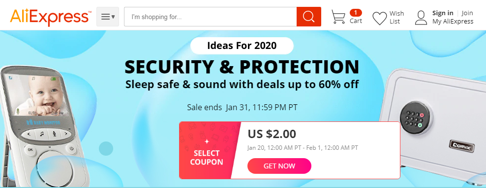 Up to 60% Off AliExpress Security and Protection items