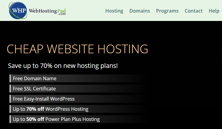 WebHostingPad Coupons Free Domain with Hosting
