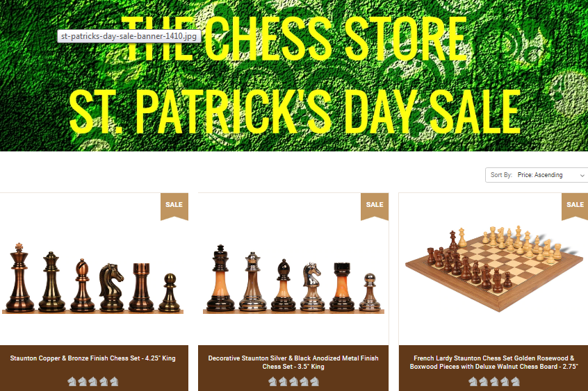 10% Off The Chess Store St. Patrick's Day Sale