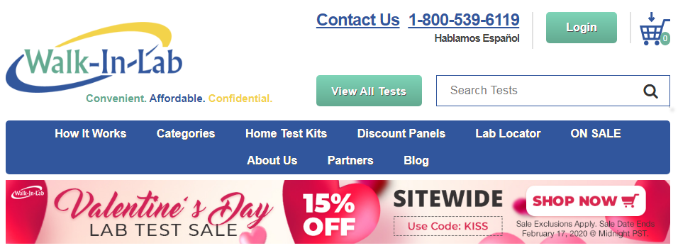 15% Off Walk-In Lab Coupons For Valentine's Day