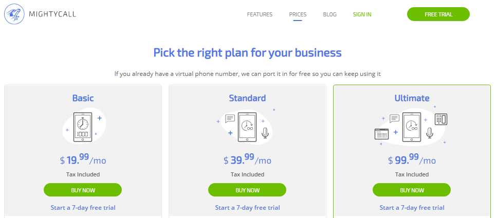 MightyCall 7 Days Free Trial And $19.99/Month