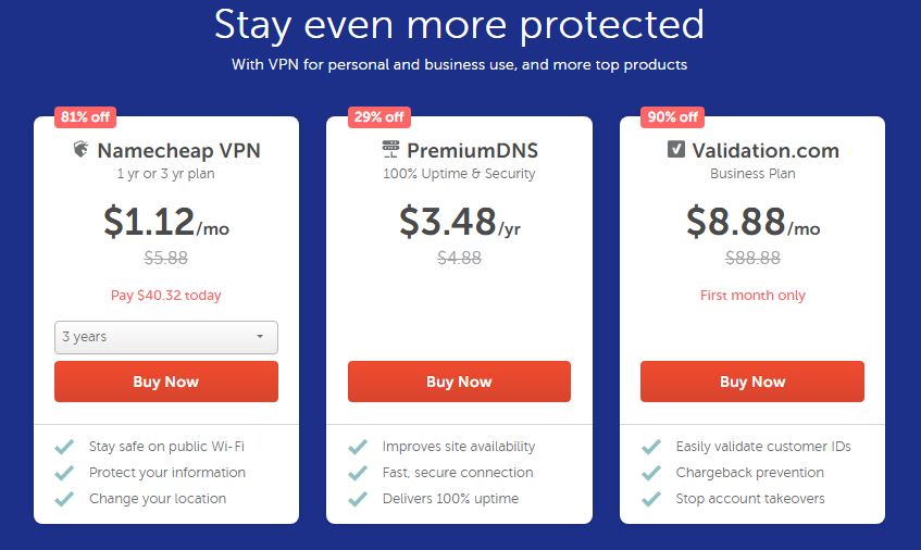 Up to 81% Off NameCheap VPN Plan Coupons