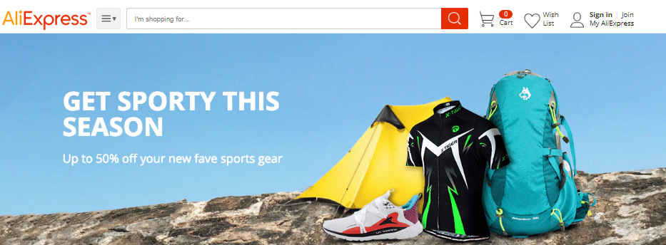 AliExpress sports & gear products coupons