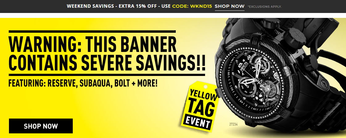 Invicta Stores Weekend Sale Extra 15% Off
