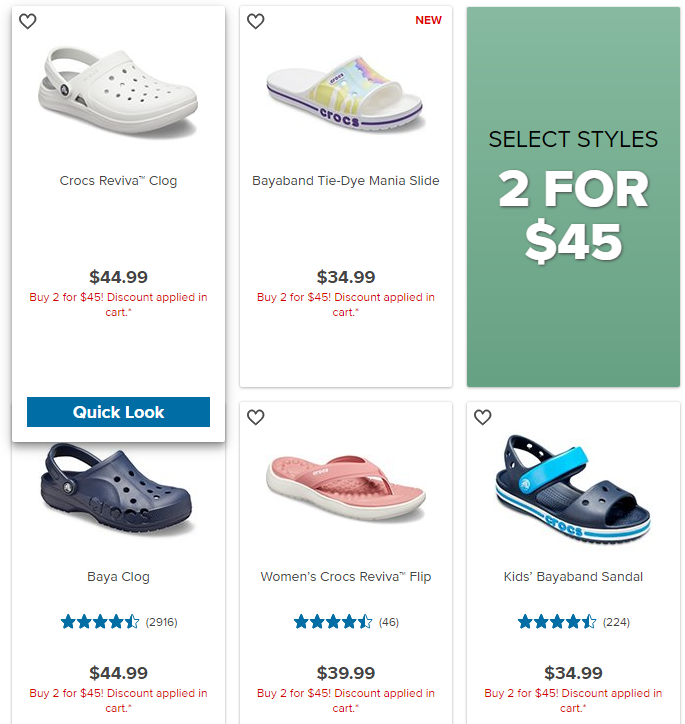 Crocs 2 for 45 Footwear Styles
