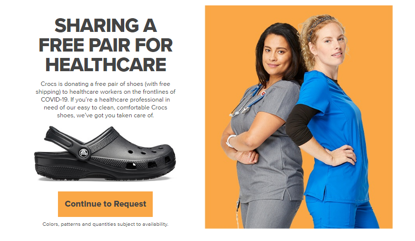 Crocs Offers Free Pair Of Shoes For HealthCare