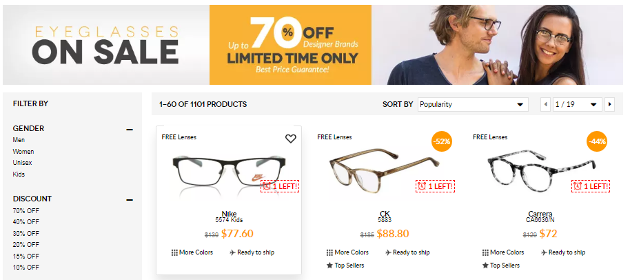 SmartBuyGlasses Clearance Sale