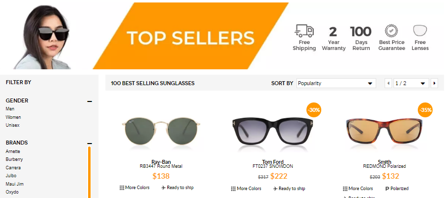 Best Selling Sunglasses SmartBuyGlasses