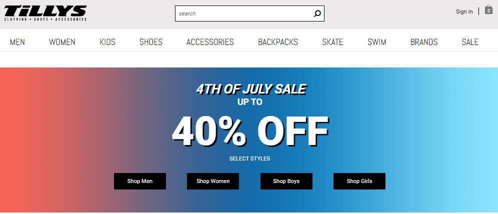 Tillys 4th of July Sale