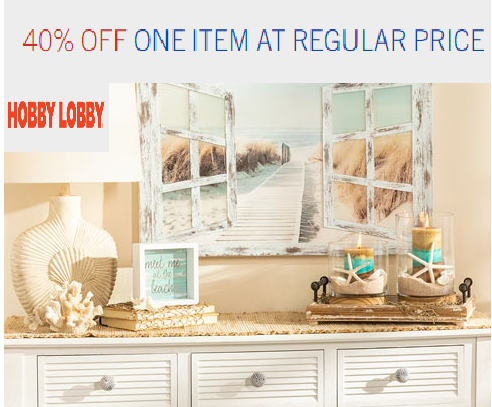Hobby Lobby one item coupon code