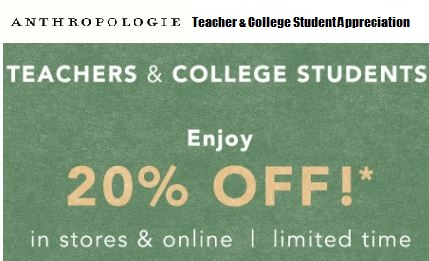 Anthropologie student teacher discount